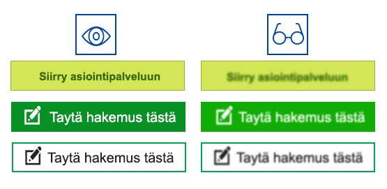 An example of how contrast, font and more efficiently used button text along with the font size affect the button's legibility.